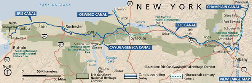 Vacation Upstate NY Erie Canal Herzig tours Map